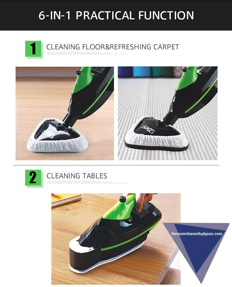 SKG Hot Steam Mops & Carpet and Floor Cleaning Machines 6-in-1 features